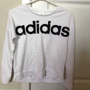 Adidas Girls White and Black Crewneck